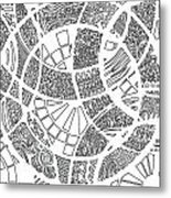 White Doodle Circles Metal Print
