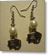 White Elephant Earrings Metal Print by Jenna Green