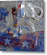 White Elephant Ride Abstract Metal Print