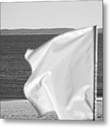 White Flag In Black And White Metal Print