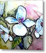 White Floral Group Metal Print