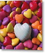 White Heart Candy Metal Print by Garry Gay