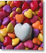 White Heart Candy Metal Print