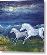 White Horses In Moonlight Metal Print by Maureen Ida Farley
