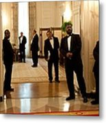 White House Butlers Watch As President Metal Print