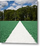 White Line On An Athletic Field Metal Print by Sam Bloomberg-rissman