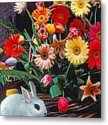 White Rabbit By Basket Of Flowers Metal Print