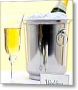 White Rose And Champagne Metal Print