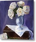 White Roses In A Silver Vase Metal Print
