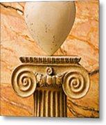 White Stone Heart On Pedestal Metal Print