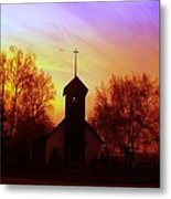 White Swan Church In The Sunset Metal Print