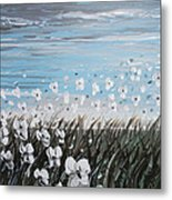 White Wildflower Breeze Metal Print