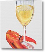 White Wine And Lobster Claw Metal Print