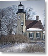 Whitehall Lighthouse In Winter Metal Print