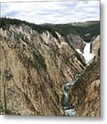 Wide View Of The Lower Falls In Yellowstone Metal Print