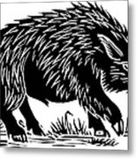 Wild Boar, Woodcut Metal Print