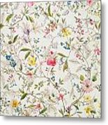 Wild Flowers Design For Silk Material Metal Print