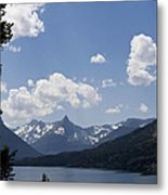 Wild Goose Island Floats In St Mary Lake Metal Print