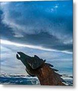 Wild Horse Sculpture Metal Print