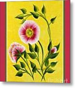 Wild Roses On Yellow With Borders Metal Print
