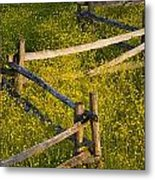 Wildflowers And A Wooden Fence At Metal Print