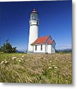 Wildflowers And Cape Blanco Lighthouse Metal Print