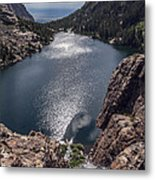 Willow Lake Waterfall Metal Print