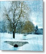 Willow Trees By Stream In Winter Metal Print
