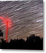 Wind Turbine Under Star Trails Metal Print by Laurent Laveder