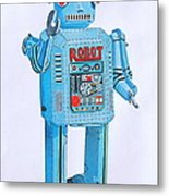 Wind-up Robot Metal Print