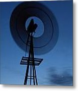 Windlill At Night Metal Print