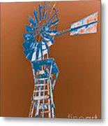 Windmill Blue Metal Print