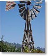 Windmill Blue Sky Metal Print