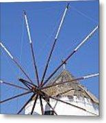 Windmill In Santorini Metal Print