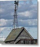 Windmill In The Storm Metal Print
