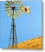 Windmill On Golden Hill Metal Print