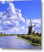Windmills In Holland Metal Print