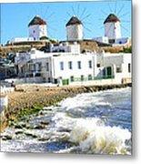 Windmills On Mykonos Metal Print