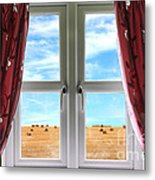 Window And Curtains With View Of Crops  Metal Print
