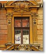 Window And Pediment In Ljubljana Slovenia Metal Print