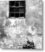 Window And Sidewalk Bw Metal Print