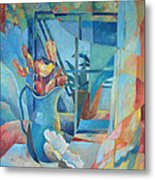 Window In Blue Metal Print