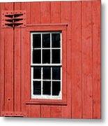 Window In Red Wall Metal Print