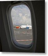 Window View On An Airplane Metal Print