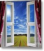 Window View Onto Arable Farmland Metal Print