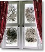 Window View To A Snow Scene Metal Print