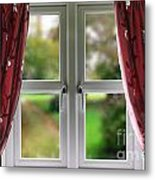 Window With Curtains Metal Print