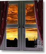 Window With Fiery Sky Metal Print