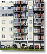 Windows  Balconies  Cars And Lawn  Of A Multiroom Apartment Hous Metal Print