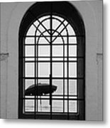 Windows On The Beach In Black And White Metal Print